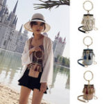 New Women Ring Handle Straw Bucket Barrel Bag Pouch Rattan Messenger Handbag Tote Outdoor Travel