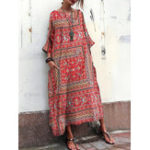 New Vintage Floral Print Crew Neck Loose Baggy Maxi Dress