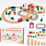 New 50PCS/Set DIY Educational Wooden Railway Train Track Slot Xmas Kids Jigsaw Puzzle Toy