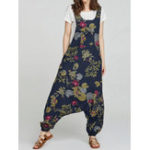 New Floral Print Sleeveless Baggy Jumpsuit withSideZipper