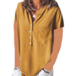 New Women Solid Color Button Down V-Neck Short Sleeve Blouse