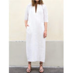 New Women Casual V Neck Striped 3/4 Sleeve Maxi Dress