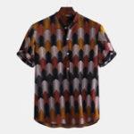 New Mens Colorful Prismatic Printed Summer Henley Shirts T-shirt