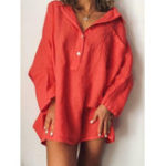 New Casual V Neck Button Long Sleeve Solid Dress