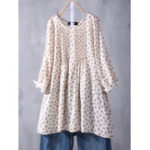 New Plus Size Floral Print Crew Neck Long Sleeve Pleated Blouse