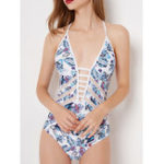 New One-Piece Printed Cross Lacing Backless Swimwear