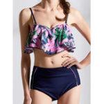 New Low Waist Ruffled Collar Leaf Swimwear