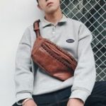 New Men Fashion Casual Rivet Phone Bag Chest Bag