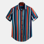 New Mens Colorful Striped Button up Short Sleeve Fashion Shirts