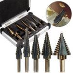 New 5pcs Hss Cobalt Step Drill Bit Set Multiple Hole 50 Sizes with Aluminum Case