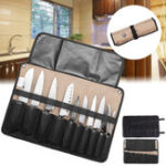 New Chef K-nife Tool Bag Roll Bag Carry Case Bag Kitchen Portable Storage Black Coffee