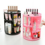 New 360° Rotating Makeup Organizer Box Brush Holder Jewelry Organizer Case Desktop Cosmetic Storage Box