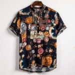 New Mens Fashion Floral Printed Half Buttons Casual Shirts