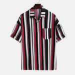 New Mens Stylish Short Sleeve Contrast Color Striped Shirts