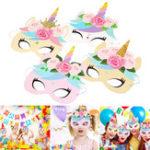 New 12pcs Kids Rainbow Unicorn Paper Mask Birthday Party Headbands Favors Decor