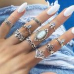 New 10 Pieces Retro Style Carved Gemstone Ring Set