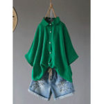 New Women Casual Loose 3/4 Sleeve Turn Down Collar Blouse