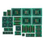New 90pcs PCB Board Kit SMD Turn To DIP Adapter Converter Plate FQFP 32 44 64 80 100 HTQFP QFN48 SOP SSOP TSSOP 8 16 24 28