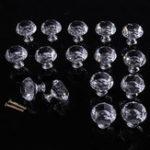 New 16PCS 30mm Crystal Glass Cabinet Knob Diamond Shape Drawer Cupboard Door Handle Pulls