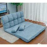 New Double Chaise Lounge Sofa Chair Floor Couch Multi-functional Lazy Sofa with Two Pillows (Blue)
