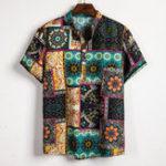 New Mens Summer Vacation Casual Fashion Printing Henley Shirts