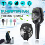 New 35mL 1800mAh Portable Mist Spray Cooling Fan Handheld Humidifying Mini Fan 3 Speed USB Charging Fan