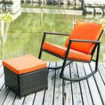 New Patio Wicker Rocking Armed Outdoor Garden Lounge Footstool Rattan Rocker Wooden Chair