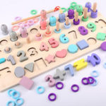 New  4 in 1 Digital Shape Fishing Log Board Early Education Children's Intellectual Development Toy Baby Puzzle Blocks Toys