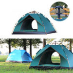 New 3-4 Person Fully Automatic Tent Waterproof Anti-UV PopUp Tent Outdoor Family Camping Hiking Fishing Tent Sunshade-Sky Blue/Green