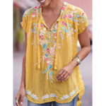 New Casual Women Floral Print V-Neck Short Sleeve Blouse