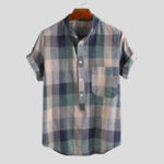 New Men Colorful Plaid Pullover Short Sleeve Henry Shirts