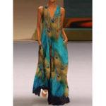 New Sleeveless Peacock Print Bohemia Beach Long Maxi Dress