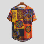New Mens Ethnic Style Pattern Printing Summer Casual T-shirts