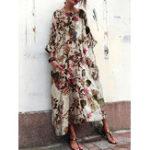 New Women 3/4 Sleeve Crew Neck Floral Print Vintage Maxi Dress