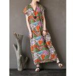 New Women V-Neck Printed Side Pockets Dress