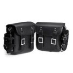 New 31x30x13CM Pair Black PU Leather Motorcycle Tool Luggage Side Saddlebags with Water Bottle Bags