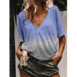 New Women Casual Half Sleeve V Neck Gradient Shirt Tops
