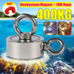 New Double Side 75mm 400KG Neodymium Recovery Magnet With 10m Rope Salvage Tool Strong Recovery Fishing Kits