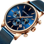 New CRRJU 2266 Men Full Steel Chronograph Calendar Quartz Watch