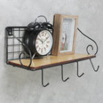 New Hanging Wall Mounted Rack Storage Organizer Wood Home Display Storage Baskets w/ Iron Hook