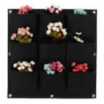 New 9-64 Pockets Plant Pot Flower Pot Felt Vertical Garden Hanging Black Wall Planters Pouch