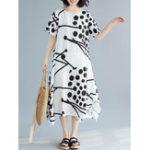 New Casual Women O-Neck Printed Split Hem Side Pockets Dress