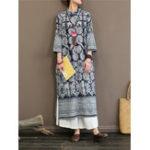 New Women Vintage Print Stand Collar 3/4 Sleeve Dress