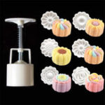 New 50g 6Pcs Round Pastry Moon Cake Mold Cookies Mooncake Mould DIY Baking Tool Decor