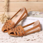 New Women Hollow Out Pattern Closed Toe Slip On Sandals