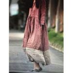 New Casual Long Sleeve O-neck Loose Cotton Maxi Dress