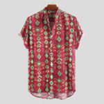 New Mens Summer Casual Loose Printing Henley Shirts