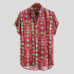 New Mens Summer Casual Loose Printing Henley Shirts