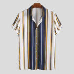 New Mens Fashion Colorful Stripe Casual Summer Shirts