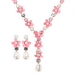 New JASSY Pink Flower Pearl Necklace Earring Jewelry Set